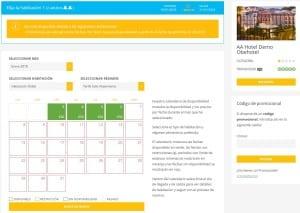 Calendario Disponibilidad Motor de Reservas Obehotel
